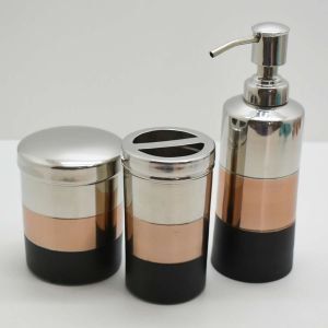 Conjunto Para Lavabo 03 Peças Em Inox Rose Gold Prateado - 54994