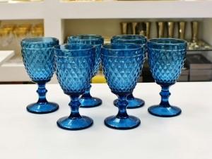 Conjunto Taças De Água 210ML De Vidro Azul 06 Peças - 56228