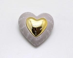 * Coração Em Cerâmica Bege e Dourado - 59032