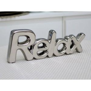 Escultura Relax Prateada 33cm 53661