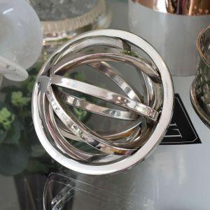Esfera Decorativa Prateada De Aço Inox - 58144