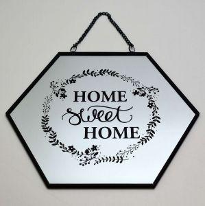 Espelho Em Metal E Vidro Hexagonal Home Preto - 57695