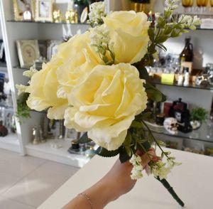 Flor Rosa Com 06 Cor Champanhe - 57437