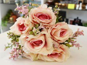 Flor Rosa Com 06 Cor Champanhe Com Rosa - 57463