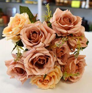 Flor Rosa Com 09 E Complemento Eucalipto Âmbar Com Bege - 57462