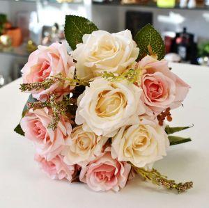 Flor Rosa Com 09 E Complemento Eucalipto Rosa Com Bege - 57443