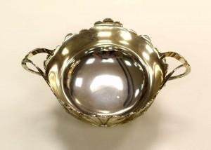 Fruteira Com Pé e Alça Silver Plated Pavão De Zamac - 55205