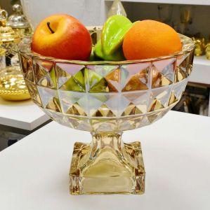 Fruteira De Cristal De Chumbo Com Pé Adamant Ambar - 56155