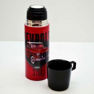 Garrafa Térmica De Inox Com Tampa/Caneca De Plástico Chevrolet 3100 - 57674