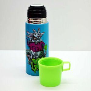Garrafa Térmica De Inox Com Tampa/Caneca De Plástico Os Jovens Titãs - 57676
