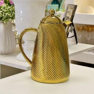 Garrafa Térmica Em Porcelana Ondulada Totalmente Dourada (Mod. 09) - 54989