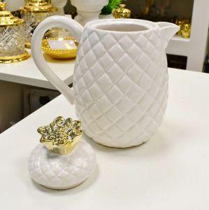 Jarra De Cerâmica Branca Com Dourado Abacaxi - 56412