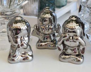 Jogo Buda Prata 03 Peças Em Cerâmica - 58028
