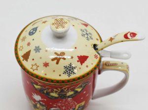 Jogo De Caneca Porcelana Com Tampa Colher E Filtro Natal Vermelho - 57504