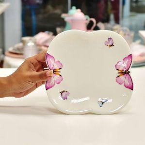 Kit 06 Pratos de Sobremesa Em Porcelana Borboleta - 10555a