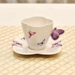 Kit Borboleta 8 Xicara de chá e 8 prato de lanche
