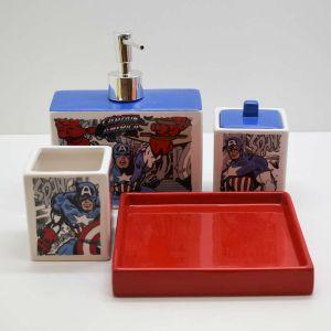 Kit Para Banheiro Infantil 04 Peças Capitão América - 58574