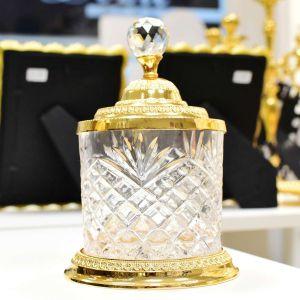 Kit Potiches Potes Decorativo Dourado Em Zamac - K100