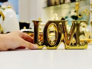 Letreiro Decorativo Love Em Cerâmica Dourado - 56486