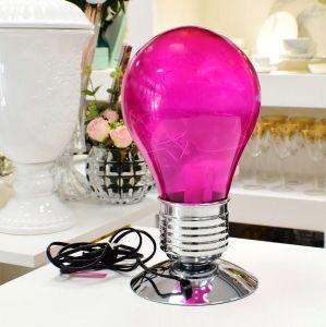 Luminária Rosa Touch Lâmpada Vidro 220V E14 - 10108