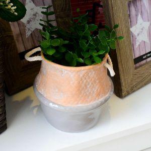 Mini Vaso Em Cerâmica Com Corda Bege E Cinza - 57831
