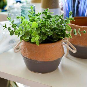 Mini Vaso Em Cerâmica Com Corda Bege E Cinza - 57832