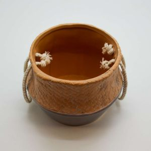 Mini Vaso Em Cerâmica Com Corda Bege E Cinza - 57833