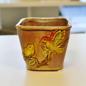Mini Vaso Pássaro Cáqui - 57161