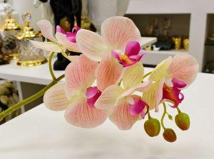 Orquídea Toque Real Com 05 Flores 3D Rosa Claro - 56839