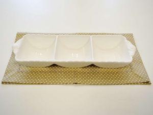 Petisqueira Com 03 Divisões De Porcelana Super White Queen - 57305
