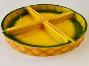 Petisqueira Com 04 Divisórias De Cerâmica Pineapple Laranja E Verde - 57324
