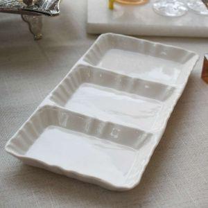 Petisqueira De Porcelana Com 03 Divisões Bon Gourmet - 58525