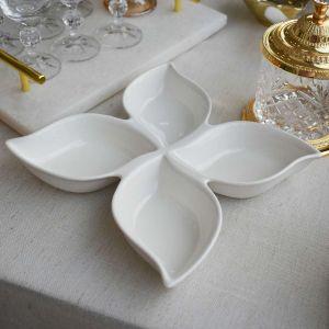 Petisqueira De Porcelana Com 04 Divisões - 58526