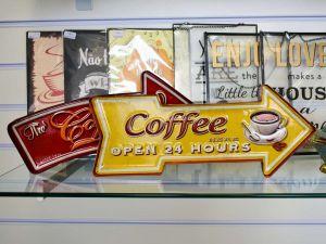 Placa Decorativa De Ferro Coffee Open Amarela - 57667