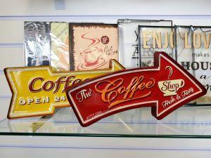 Placa Decorativa De Ferro Coffee Shop Vermelha - 57700