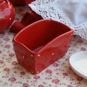 Porta Adoçante Em Cerâmica Vermelho Poá - 58650