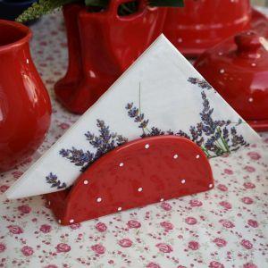 Porta Guardanapo Em Cerâmica Vermelho Poá - 55108