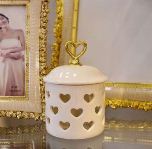 Porta Joia Coração Branco Com Dourado Em Porcelana - 57577