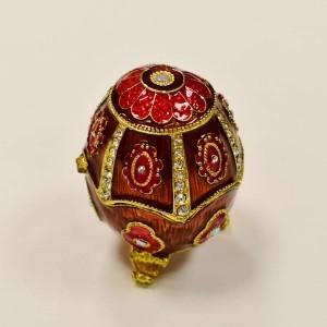 Porta Joia Decorativo Ovo Estilo Faberge Royal Vermelho Em Zamac - 54925