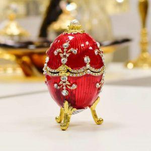 Porta Joia Decorativo Ovo Estilo Faberge Royal Vermelho Em Zamac - 56998
