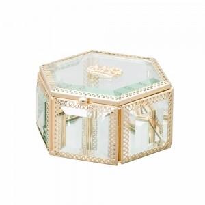 Porta joias com vidro e armação em zamac dourada 12,5 cm 53889