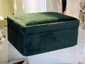 Porta Joias De Veludo Verde E Tecido - 57829