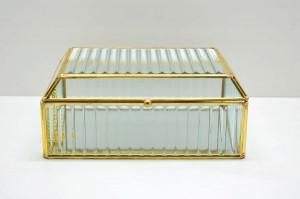 Porta Joias de Vidro e Metal Dourada Grande - 58939