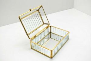 Porta Joias  de Vidro e Metal Dourada Pequena - 58991