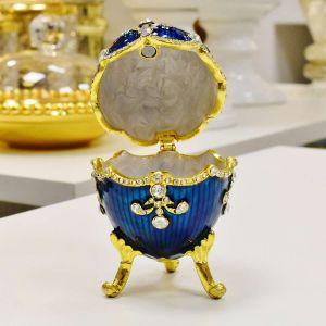Porta Joias Decorativo Em Zamac Ovo Estilo Faberge Royal Azul - 54924