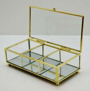 Porta Joias Em Vidro E Metal Transparente Com Dourado - 57844