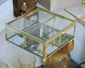 Porta Joias Em Vidro E Metal Transparente Dourado - 58212