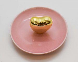 Porta Joias Rosa Coração Dourado Em Cerâmica - 58120