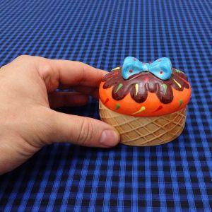Porta Patê Sorvete Cupcake Laranja - 52994