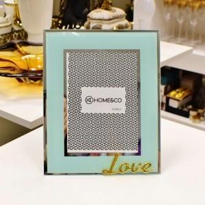 Porta Retrato 13X18cm Milos Vidro Azul Love - 56461